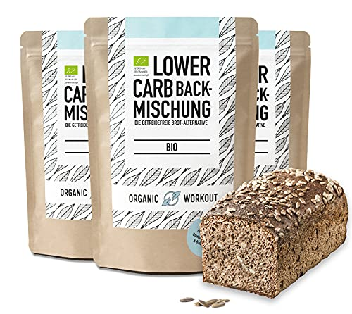 Organic Workout LOWER-CARB-BROT-BACKMISCHUNG 3er Pack - 100% Bio