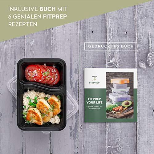 FITPREP [7er Pack] Original 2-Fach Meal Prep Container   Stapelbar, Wiederverwendbar, Spülmaschinenfest, Mikrowellen-, Gefrierschrankgeeignet, verstärkter Deckel   Bento Box   Lunchbox Frischhaltebox - 2
