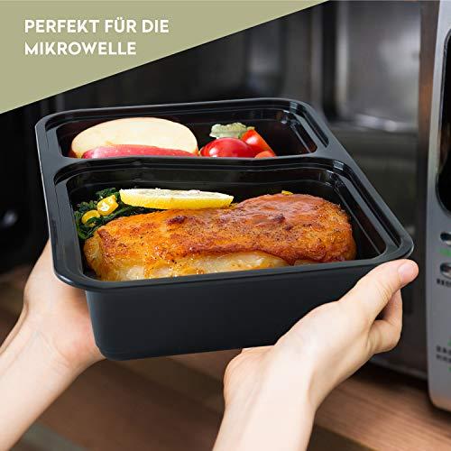 FITPREP [7er Pack] Original 2-Fach Meal Prep Container   Stapelbar, Wiederverwendbar, Spülmaschinenfest, Mikrowellen-, Gefrierschrankgeeignet, verstärkter Deckel   Bento Box   Lunchbox Frischhaltebox - 5