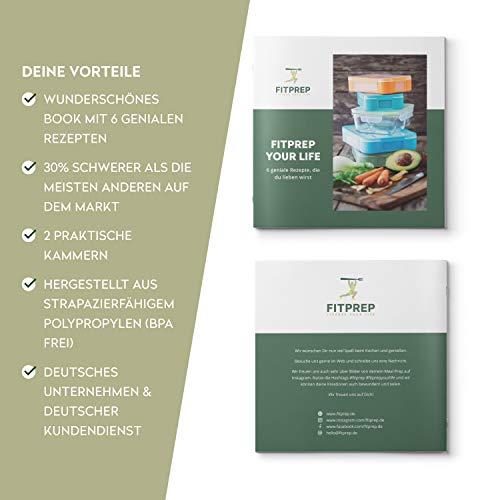 FITPREP [7er Pack] Original 2-Fach Meal Prep Container   Stapelbar, Wiederverwendbar, Spülmaschinenfest, Mikrowellen-, Gefrierschrankgeeignet, verstärkter Deckel   Bento Box   Lunchbox Frischhaltebox - 6