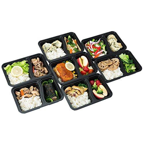 FITPREP [7er Pack] Original 2-Fach Meal Prep Container   Stapelbar, Wiederverwendbar, Spülmaschinenfest, Mikrowellen-, Gefrierschrankgeeignet, verstärkter Deckel   Bento Box   Lunchbox Frischhaltebox - 7