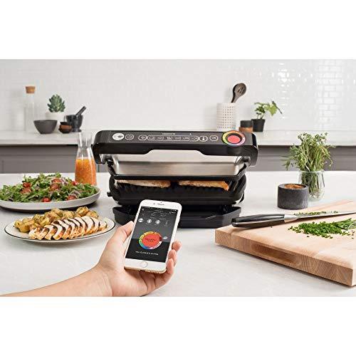 Tefal OptiGrill+ Smart GC730D Kontaktgrill (mit App-Steuerung für ideale Grillergebnisse, 2.000 Watt, automatische Anzeige des Garzustands, 6 voreingestellte Grillprogramme) schwarz/edelstahl - 4