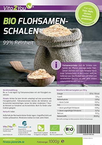 BIO Flohsamenschalen 100% Bio Anbau -1000g Zippbeutel - 2